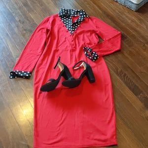 Red midi long sleeve dress
